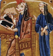Two women scribes pictured from an illuminated manuscript.
